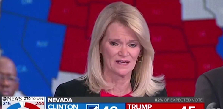 ABC's Martha Raddatz, who actually CRIED REAL TEARS when Trump won on election night. Keep it up!