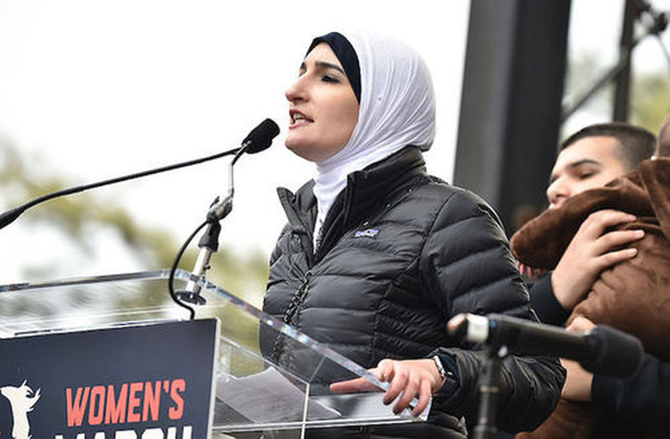Radical Muslim-supporting, taqiyya-loving, Hamas princess Linda Sarsour, who helped organize the stew of leftists.