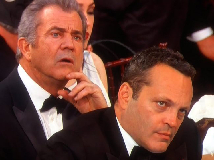 The ONLY redeeming part of Streep's stupid speech was the reactions from Mel Gibson and Vince Vaughn.